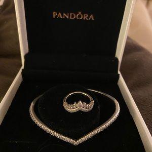 Pandora Jewelry - Sparkling Wishbone Bangle & Princess Wishbone Ring